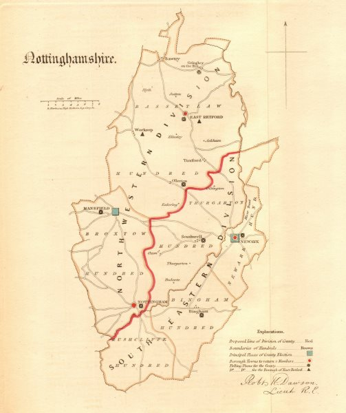 Associate Product Nottinghamshire county map. Divisions boroughs electoral REFORM ACT. DAWSON 1832