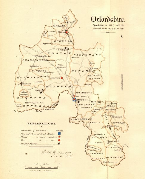 Associate Product Oxfordshire county map. Boroughs electoral electoral. REFORM ACT. DAWSON 1832