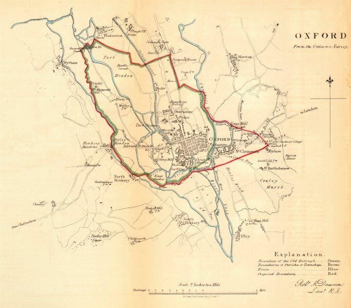 OXFORD borough/town/city plan. REFORM ACT. Ifley Hinksey Wytham. DAWSON 1832 map