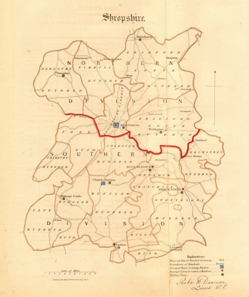 Associate Product Shropshire county map. Divisions boroughs electoral. REFORM ACT. DAWSON 1832