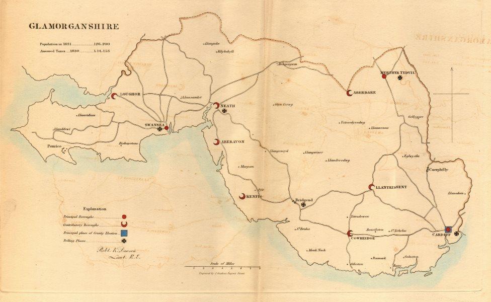 Associate Product Glamorganshire county map.Principal/contributory boroughs REFORM ACT.DAWSON 1832