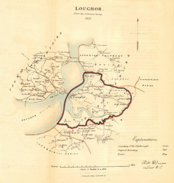 LOUGHOR/CASLLWCHWR borough/town plan for the REFORM ACT. Wales. DAWSON 1832 map