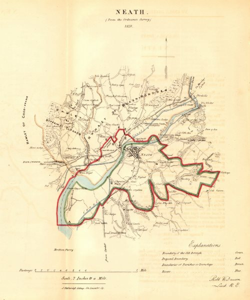 Associate Product NEATH/CASTELL-NEDD borough/town plan for the REFORM ACT. Wales. DAWSON 1832 map