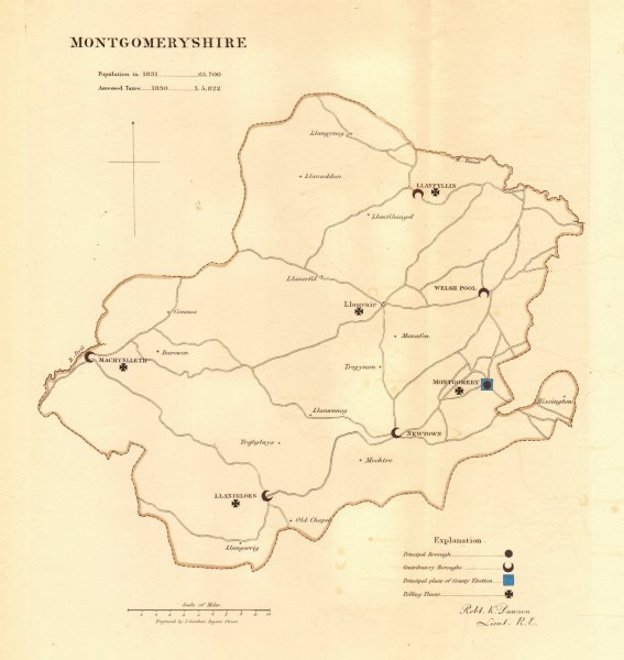 Associate Product Montgomeryshire county map. Principal/contributory boroughs. REFORM ACT 1832