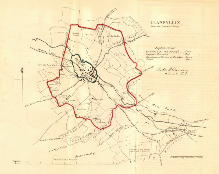 Associate Product LLANFYLLIN borough/town plan for the REFORM ACT. Wales. DAWSON 1832 old map