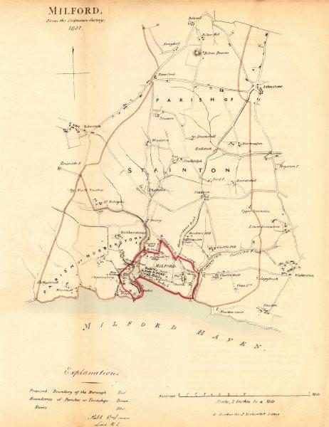 Associate Product MILFORD HAVEN/ABERDAUGLEDDAU borough/town plan. REFORM ACT. DAWSON 1832 map