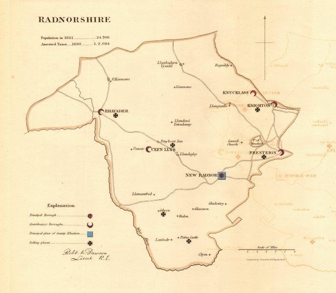 Associate Product Radnorshire county map. Principal/contributory boroughs. REFORM ACT. DAWSON 1832