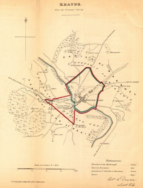 Associate Product RHAYADER/RHAEADR GWY borough/town plan. REFORM ACT. Wales. DAWSON 1832 old map