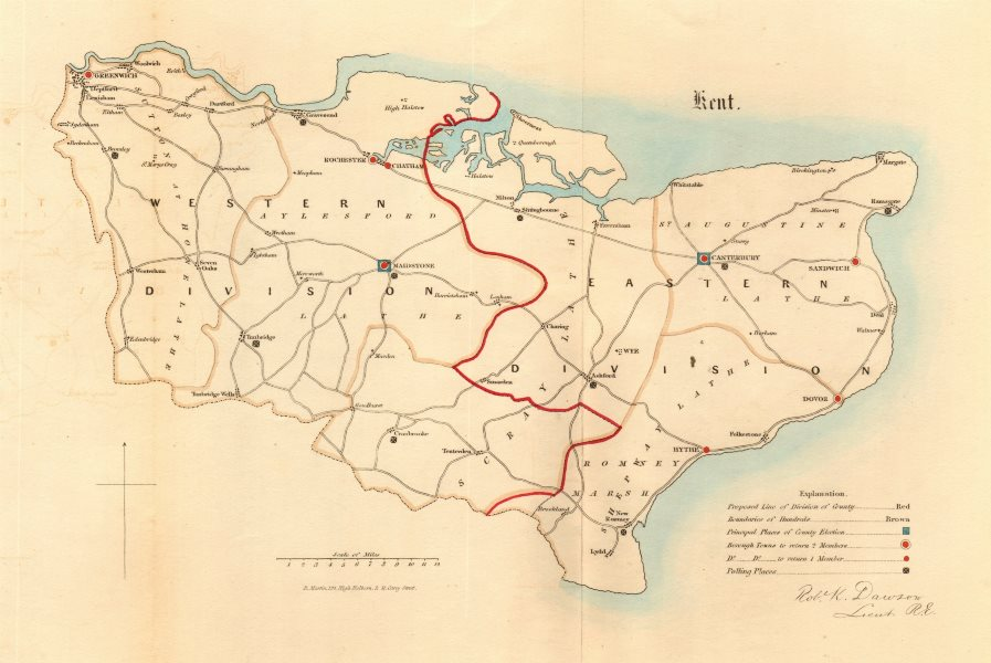 Associate Product Kent county map. Divisions boroughs electoral. REFORM ACT. DAWSON 1832 old