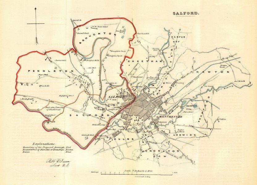 Associate Product SALFORD borough/town plan. REFORM ACT. Manchester Hulme Ardwick. DAWSON 1832 map
