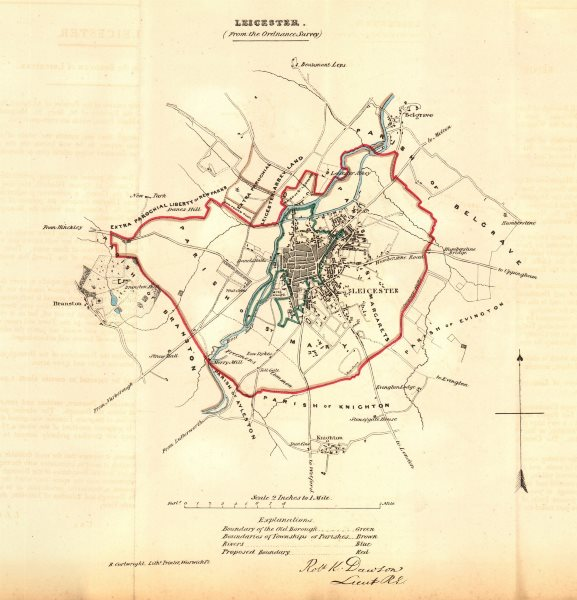 Associate Product LEICESTER borough/town plan for the REFORM ACT. Leicestershire. DAWSON 1832 map
