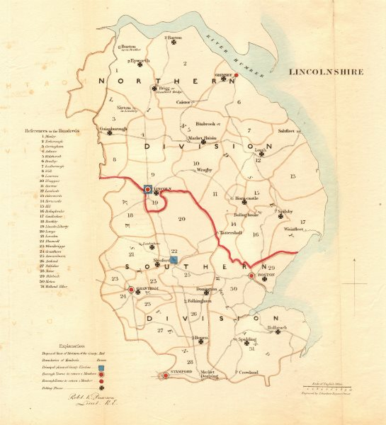 Associate Product Lincolnshire county map. Divisions boroughs electoral. REFORM ACT. DAWSON 1832