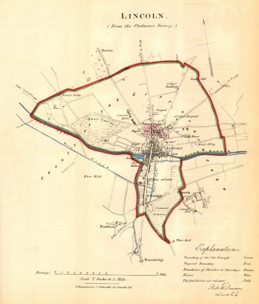 Associate Product LINCOLN borough/town plan for the REFORM ACT. Lincolnshire. DAWSON 1832 map