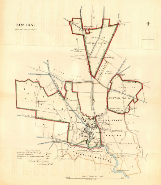 Associate Product BOSTON borough/town plan for the REFORM ACT. Lincolnshire. DAWSON 1832 old map
