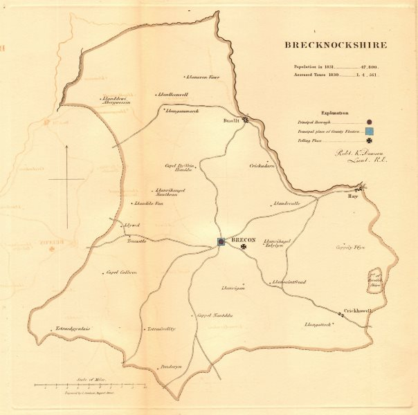 Associate Product Brecknockshire county map. Boroughs polling places electoral REFORM ACT 1832