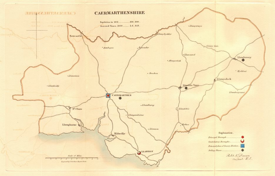 Associate Product Caermarthenshire county map. Contributory boroughs electoral. REFORM ACT 1832