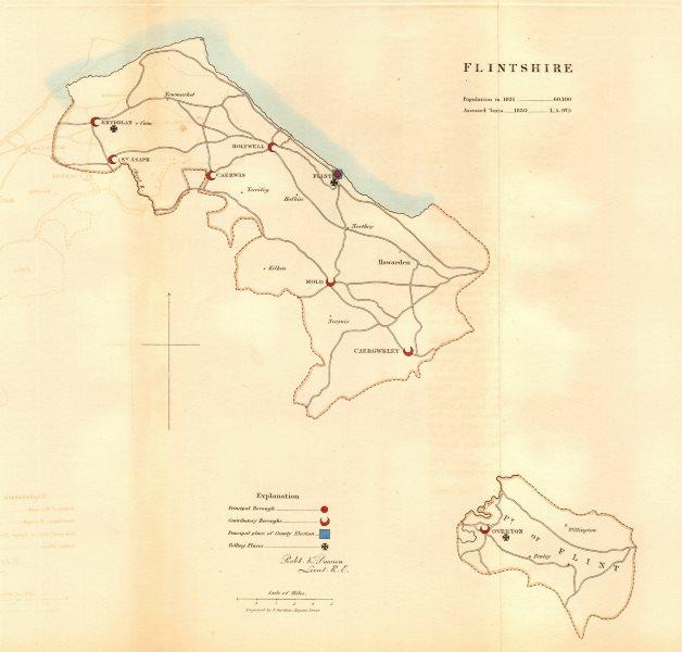 Associate Product Flintshire county map. Principal/contributory electoral. REFORM ACT. DAWSON 1832