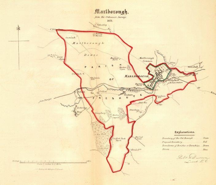 Associate Product MARLBOROUGH borough/town plan. REFORM ACT. Lockeridge Wiltshire. DAWSON 1832 map