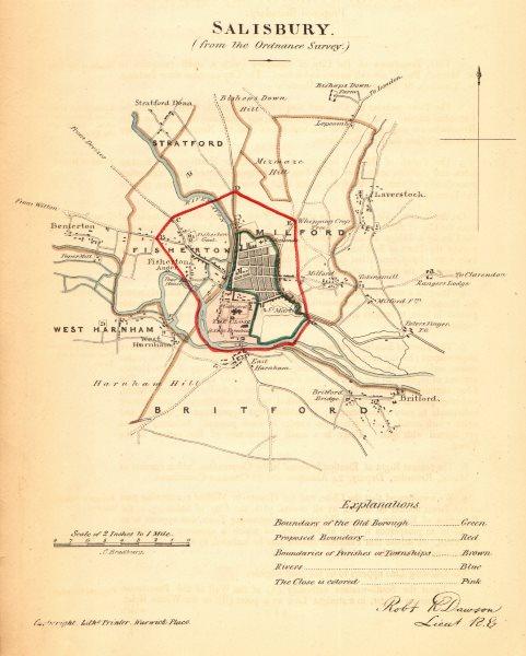 Associate Product SALISBURY borough/town plan. REFORM ACT. Harnham. Wiltshire. DAWSON 1832 map