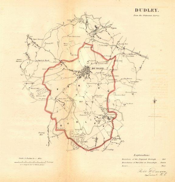 Associate Product DUDLEY borough/town plan REFORM ACT Tipton Gornal Worcestershire DAWSON 1832 map