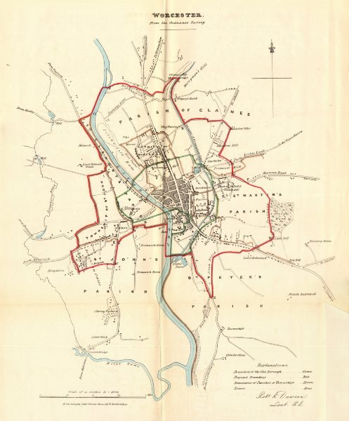 Associate Product WORCESTER  borough/town plan. REFORM ACT. Worcestershire. DAWSON 1832 old map