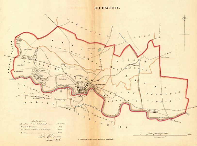 Associate Product RICHMOND borough/town plan REFORM ACT Skeeby Hudswell Yorkshire. DAWSON 1832 map