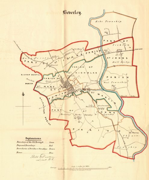 Associate Product BEVERLEY borough/town plan. REFORM ACT. Molescroft. Yorkshire. DAWSON 1832 map