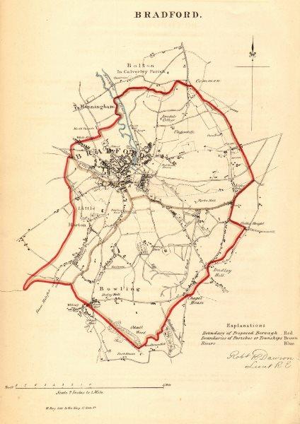 Associate Product BRADFORD borough/town plan. REFORM ACT. Little Horton Yorkshire. DAWSON 1832 map