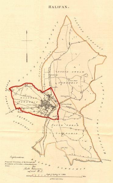 Associate Product HALIFAX borough/town plan. REFORM ACT. Northowram. Yorkshire. DAWSON 1832 map