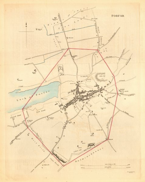 Associate Product FORFAR borough/town plan for the REFORM ACT. Scotland 1832 old antique map