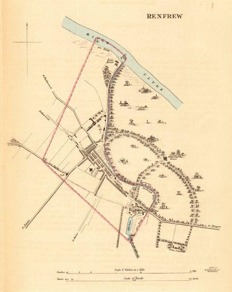 RENFREW borough/town plan for the REFORM ACT. Scotland 1832 old antique map