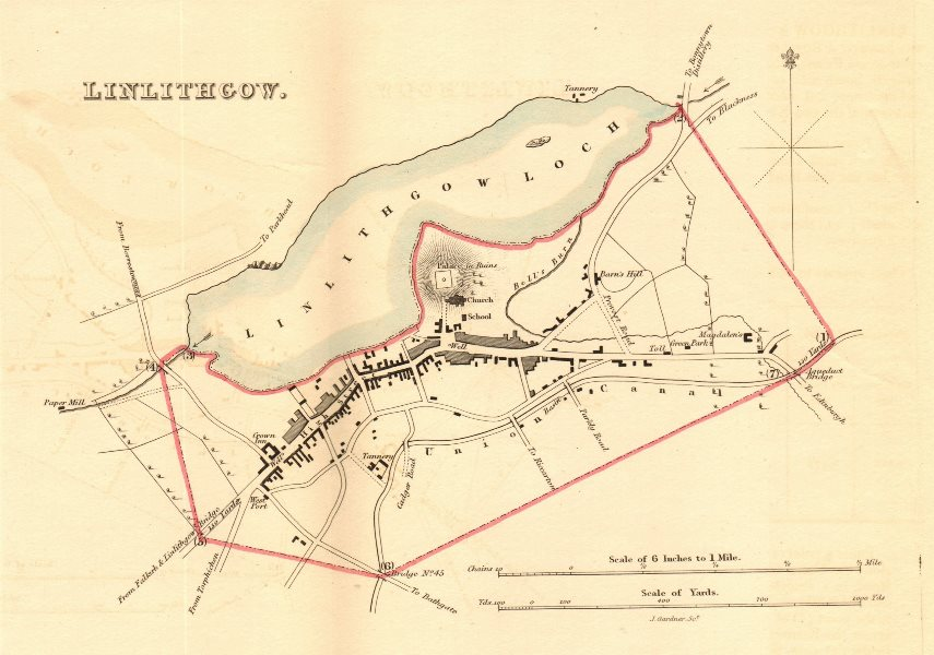 Associate Product LINLITHGOW borough/town plan for the REFORM ACT. Scotland 1832 old antique map