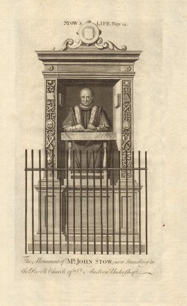 Associate Product Monument of John Stow, St. Andrew Undershaft church. STOW/STRYPE 1720 print
