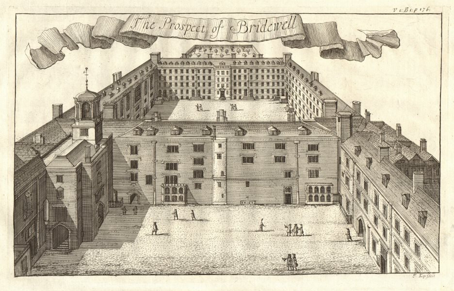 Associate Product 'The Prospect of Bridewell'. Palace/Prison. London. STOW/STRYPE 1720 old print