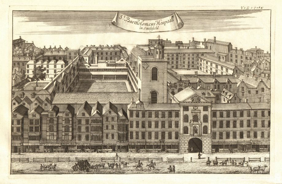 Associate Product 'St Bartholomew's Hospitall in Smithfield', London. STOW/STRYPE 1720 old print