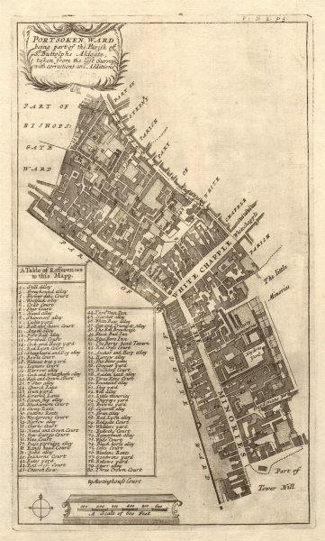 'Portsoken Ward'. Minories Petticoat Lane. City of London. STOW/STRYPE 1720 map