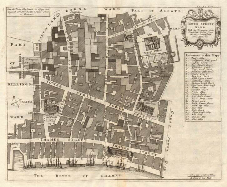 Associate Product 'Tower Street Ward'. City of London. Thames St. Mark Lane. STOW/STRYPE 1720 map