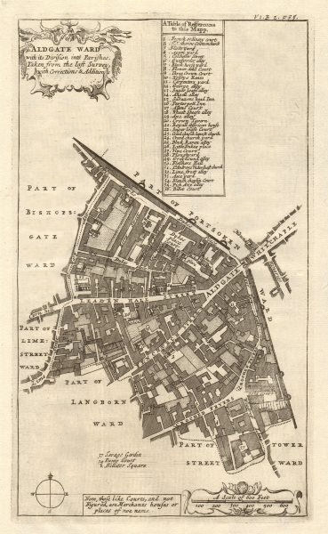 Associate Product 'Aldgate Ward'. Leadenhall/Fenchurch Street City of London. STOW/STRYPE 1720 map