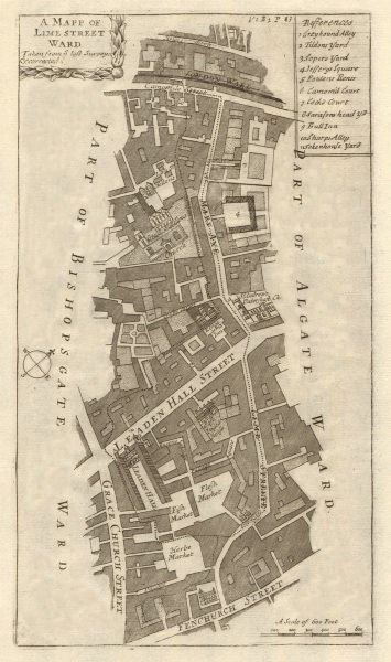 Associate Product 'Lime Street Ward'. Leadenhall/Gracechurch St. City/London. STOW/STRYPE 1720 map