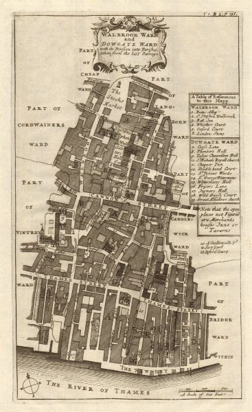 Associate Product Walbrook & Dowgate Wards. Cannon Street. City of London. STOW/STRYPE 1720 map