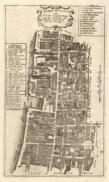 Associate Product Queenhithe & Vintry Wards. Thames Street, City of London. STOW/STRYPE 1720 map