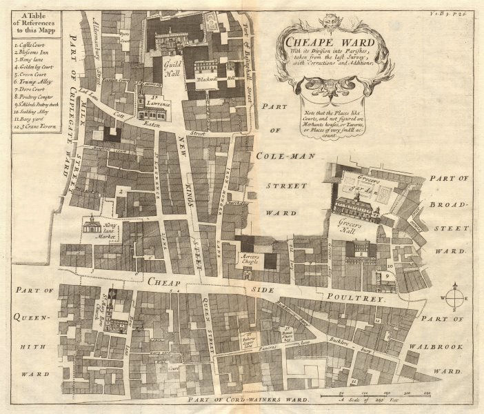 Associate Product 'Cheape Ward'. Guildhall Cheapside Poultry. City of London. STOW/STRYPE 1720 map