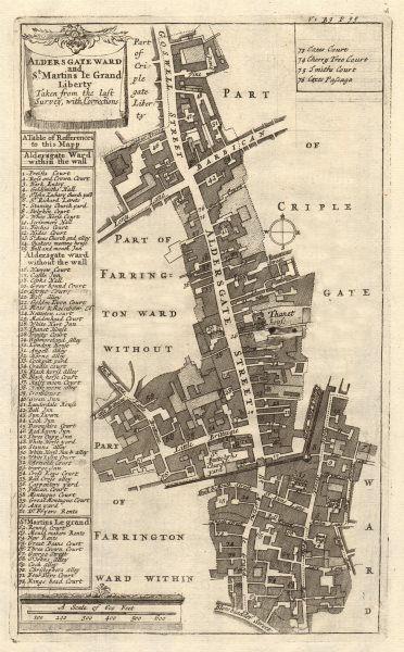 Associate Product Aldersgate Ward & St Martins le Grand Liberty. London. STOW/STRYPE 1720 map