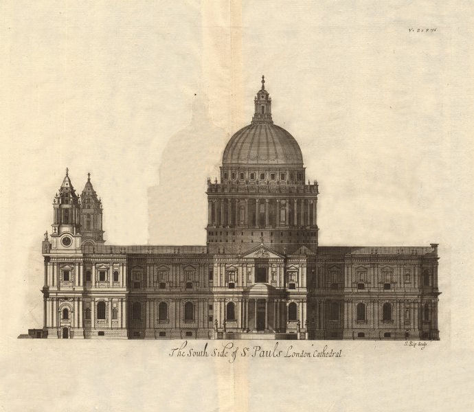 Associate Product The south side of St Paul's Cathedral, London. STOW/STRYPE 1720 old print