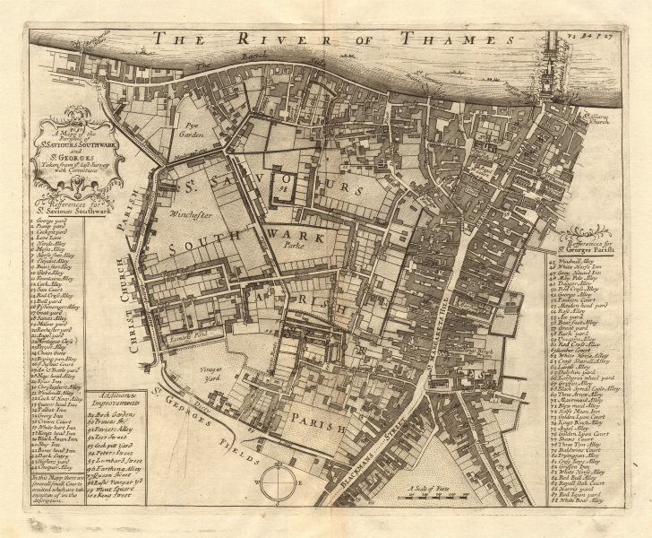 Associate Product The parishes of St Saviour's, Southwark & St George's. STOW/STRYPE 1720 map