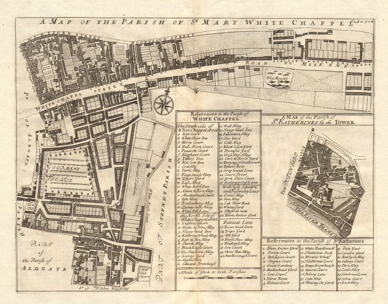 Associate Product Parishes of St Mary, Whitechapel & St Katherine's/Tower. STOW/STRYPE 1720 map