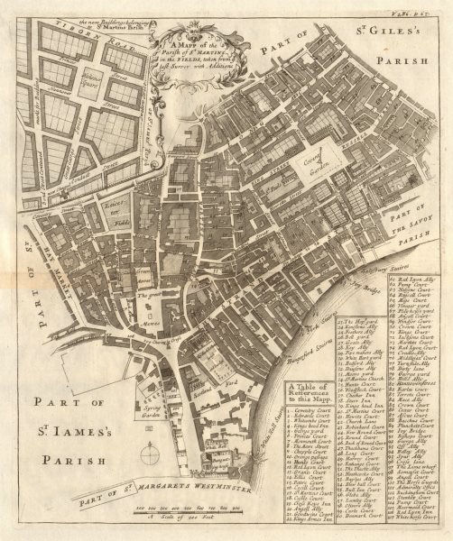 Associate Product The Parish of St Martin's in the Fields. Covent Garden &c. STOW/STRYPE 1720 map