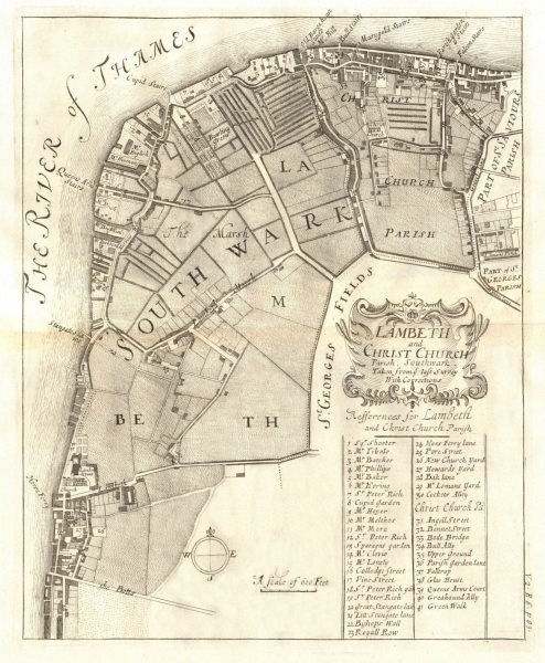 'Lambeth and Christ Church parish, Southwark'. Bankside. STOW/STRYPE 1720 map