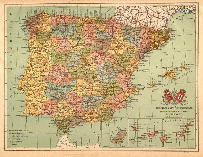 Associate Product SPAIN PORTUGAL. ESPAÑA. Iberia mapa antiguo. ALBERTO MARTIN c1911 old