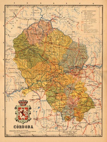 Associate Product CÓRDOBA. Cordoba. Andalucia. Mapa antiguo de la provincia. ALBERTO MARTIN c1911